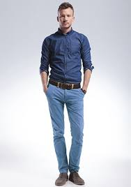 light blue pants mens what color shirts go well with blue pants
