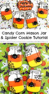 candy corn mason jar cookies with spider tutorial mason jar