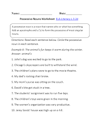 possessive nouns worksheet 1 ela literacy l 3 2d language