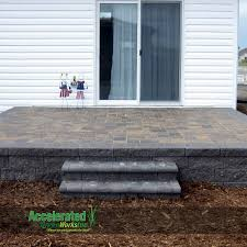 Building A Raised Patio With Retaining Wall by Raised Paver Patio With Steps To The Landscaping Versa Lok Block