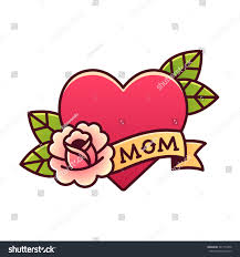 tattoo heart rose ribbon word mom stock vector 547153378