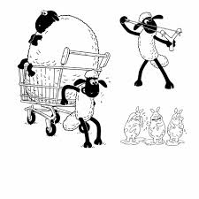 shaun sheep coloring pages activity kids digital clipart