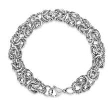 silver stainless steel bracelet images High polish intricate byzantine stainless steel bracelet silver jpg