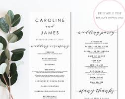 Sample Wedding Programs Templates Wedding Programs Etsy