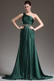princess one shoulder court train chiffon green evening dress with