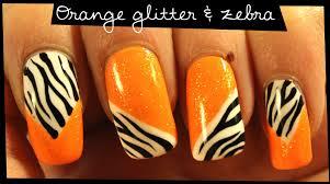 orange glitter u0026 zebra nail art youtube