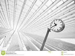 simple round clock in futuristic interior stock photo image