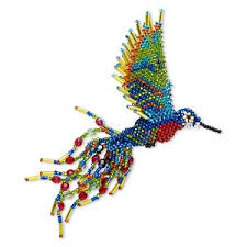 ornament glass multicolored 5 1 2 inch seed beaded hummingbird