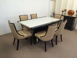 monaco dining table monaco b u0026w marble dining table 6x beige bonded leather chairs