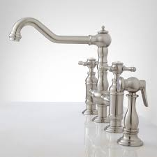 bridge faucet kitchen deck mount bridge faucet with side spray cross handles