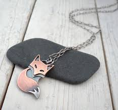 metal pendant necklace images Rustic fox pendant handmade mixed metal by lostsparrowjewelry jpg