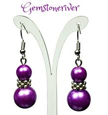 silver dangle earrings for prom royal purple pearl silver drop dangle earrings bridesmaids prom