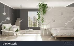 scandinavian white gray minimalist living bedroom stock
