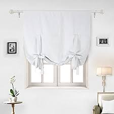 White Tie Curtains Deconovo Blackout Curtain Tie Up Shade Window Panels