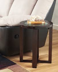 round table montgomery village the marion dark brown finish round end table sold at furniture rug