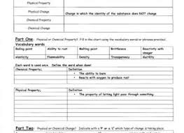 15 physical and chemical properties and changes worksheet answers
