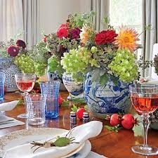 a blue and white southern living thanksgiving the glam pad