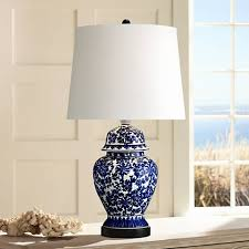 Blue Table Lamp Blue And White Porcelain Temple Jar Table Lamp R2462 Lamps Plus