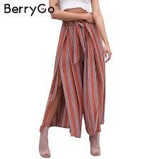 BerryGo Casual split wide leg pants women Christmas summer high