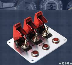 motor rated switch with pilot light pilot 3 row red anodized safety cover aircraft toggle switch red