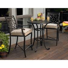 Cast Iron Bistro Chairs Rounded Black Cast Iron Bistro Table Mixed White Fabric Cushioned