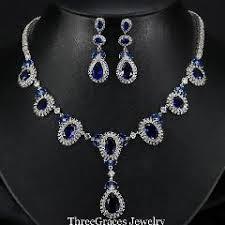 diamond necklace aliexpress images Elegant women big water drop sapphire dark blue cz diamond jpg