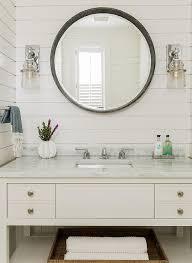 Mirror Vanities For Bathrooms by Shiplap Round Mirror Gray White Bathrooms Pinterest Round