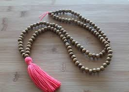bead necklace with tassel images Coral long tassel necklace mala yoga tassel necklace wooden bead jpg