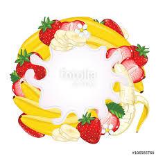 yogurt splash isolated on strawberry and banana milk splash