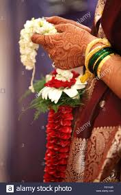 hindu garland hindu wedding ceremony holding garland heena on stock