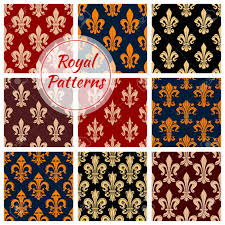 what is floral pattern in french fleur de lis or royal french lilly heraldic flower seamless patterns