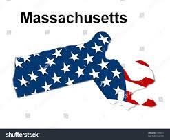 Mass State Flag Map State Massachusetts American Flag Stock Illustration 11950117