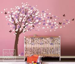 Purple Wall Decals For Nursery Flower Tree Wall Decal Tree Butterflies Cherry Blossom Decal