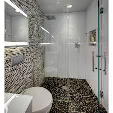 river rock bathroom ideas modern small bathroom with river rock floor in curbless shower