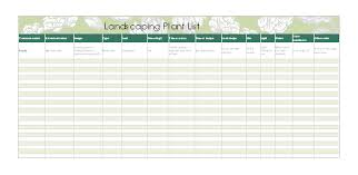 Home Maintenance Spreadsheet by Landscaping Plant List Office Templates