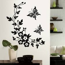 wall sticker art like 25 black inspiring words flowers and