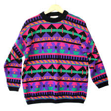 vintage 80s dayglo tribal aztec tacky ski cosby sweater
