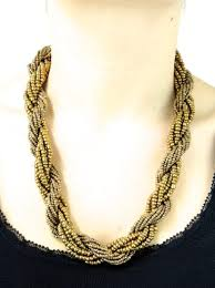 gold beaded necklace images Gold african beaded twist necklace womens african jewellery jpg