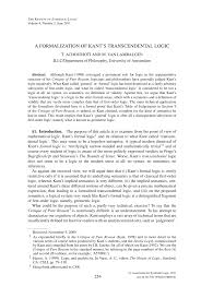 a formalization of kant u0027s transcendental logic