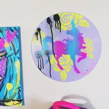 ombre upcycled vinyl record graffiti pop art home decor