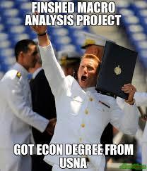 Macro Meme - finshed macro analysis project got econ degree from usna meme
