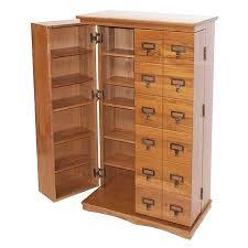 Leslie Dame Library Style Multimedia Storage Cabinet Dark Oak Cd 612ld