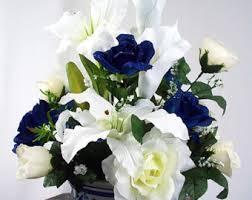 white and blue floral arrangements navy silk flower etsy