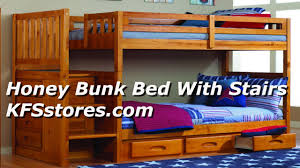 honey bunk bed with stairs kfsstores com youtube