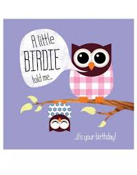 a little birdie told me birthday card little owl birthday cards