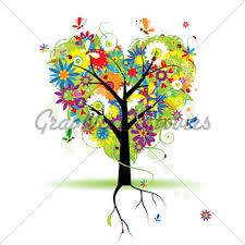 summer floral tree shape in pot for your design gl stock