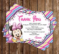 minnie mouse thank you cards novel concept designs baby minnie mouse baby girl baby