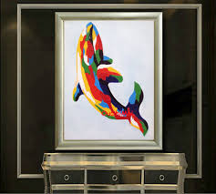 modern dolphin ring holder images Handmade cheap abstract dolphin painting picture on canvas oil jpg
