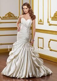 sweetheart mermaid bodice rhinestones crushed ruffles wedding dress