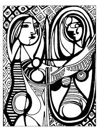 picasso before a mirror 1932 master pieces coloring pages